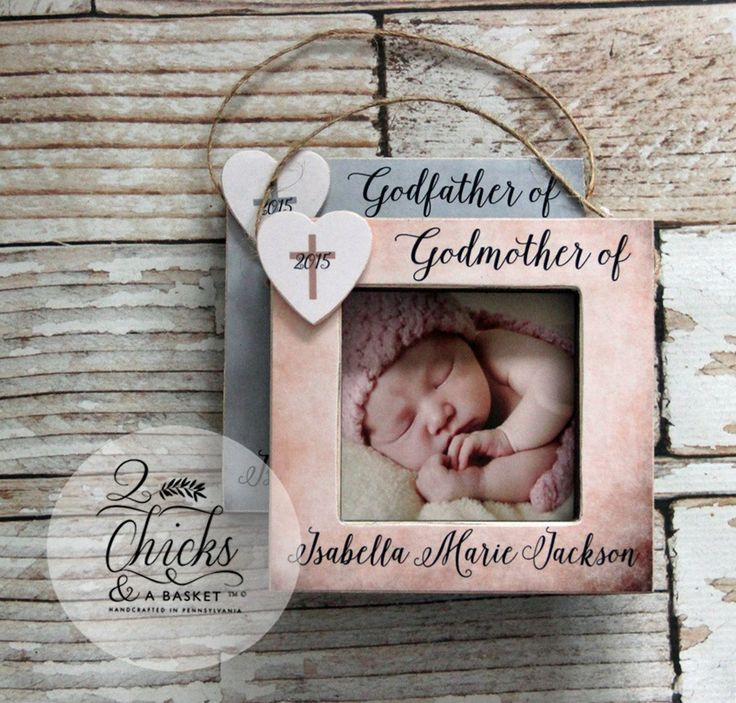 Godparent Christmas Ornaments (SET OF 2), Picture Frame Ornaments, Per – 2 Chicks & a Basket