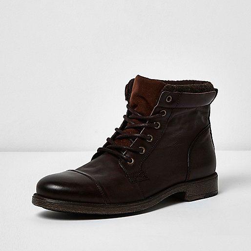 River Island - Dark brown leather work boots