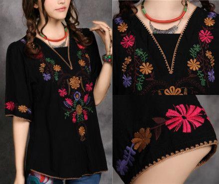 nova 2013 frete grátis vintage 70s mexicano boho bordados étnicos hippie vestido blusa mulher vestido roupa