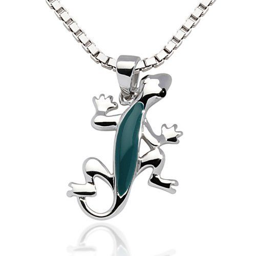 """925 Sterling Silver Rhodium Plating Green Turquoise Enamel Gecko Lizard Pendant Necklace Women Jewelry 18'' - Nickel Free Chuvora. $30.99. More Lizard jewelry available in Chuvora store. Please search Amazon for """"Chuvora Lizard"""". Weight: 3.8 g.. Marked .925 Sterling Silver. Pendant Size: 1.4 x 2.2 cm. Silver Necklace Length: 18''. Packaging: Black Velvet Pouch"""