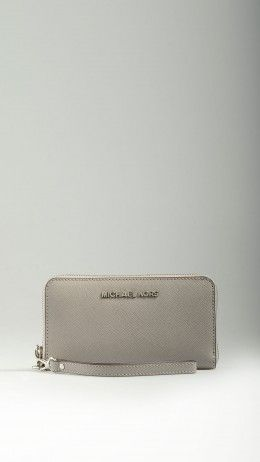 Pearl grey leather smartphone purse