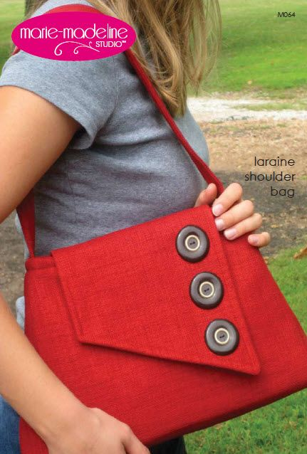 Roomy shoulder bag has lots of room and lots of unique style! Pick some vintage buttons to make a fashion statement!