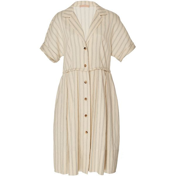 Brock Collection     Donna Linen Stripe Shirt Dress ($1,290) ❤ liked on Polyvore featuring dresses, stripe, shirt dress, long shirt dress, knee high dresses, pink striped dress and stripe shirt dress