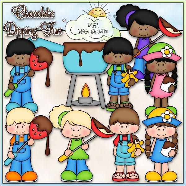Chocolate Dipping Fun - Kristi W. Designs Clip Art & B&W Set This set comes with 10 clip art and 6 black and white images (black lines with a white fill) and includes: 1 chocolate fondue pan melting over candle heat, 1 boy with a chocolate covered strawberry (2 versions), 1 boy with a banana with melted chocolate (2 versions), 1 girl with an apple slice dipped in melted chocolate (2 versions), 1 girl with a marshmallow dipped in melted chocolate (2 versions), 1 word art of: CHOCOLATE DIPPING…
