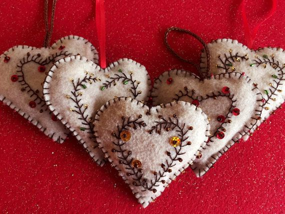 Elegant Felt Heart Ornament Gift Decoration