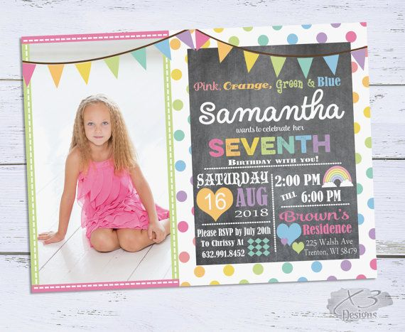 43 best birthday invitations and party printables our work images rainbow birthday invitations girl birthday invitation chalkboard 7th birthday invite printable 6th birthday first birthday stopboris Choice Image