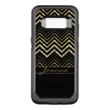 Modern Diamonds And Gold Chevron OtterBox Commuter Samsung Galaxy S8 Case - monogram gifts unique design style monogrammed diy cyo customize