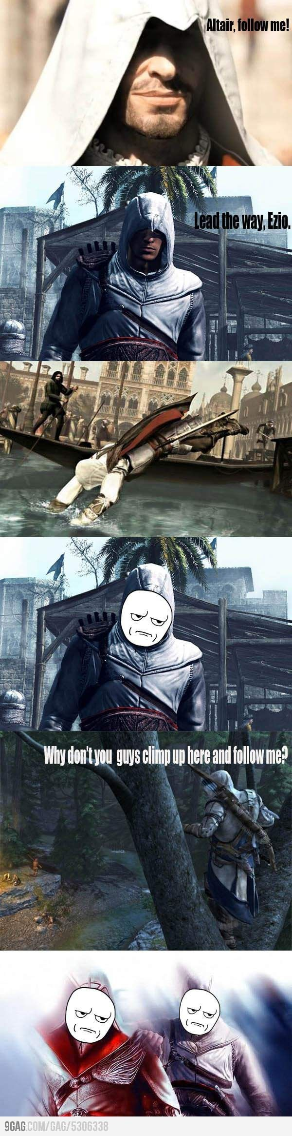 When Altair, THE MASTER ASSASSIN, couldn't swim, I about cried. It was so annoying that he couldn't swim. It was like the moment he hit the water BAM desyncronization!