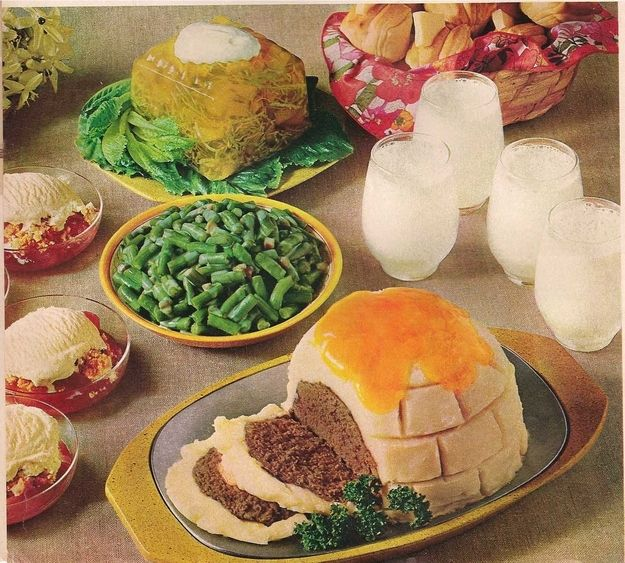 Kitschification of food in the global west example igloo meat loaf