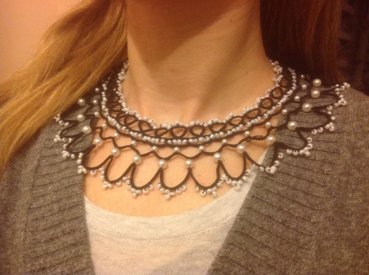 Black shuttle tatted necklace with seed bead pearls.Available, 42 euros.