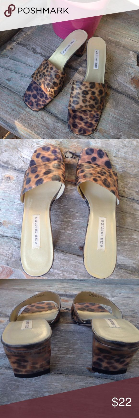 """ANN MARINO  MINI MULES Details - Tan/Black Leopard Print in man-made materials - 2.5"""" Heel - Size 8M - Approx. 10"""" length - In Great, New Condition with no footprint or wear on heel Ann Marino Shoes Mules & Clogs"""