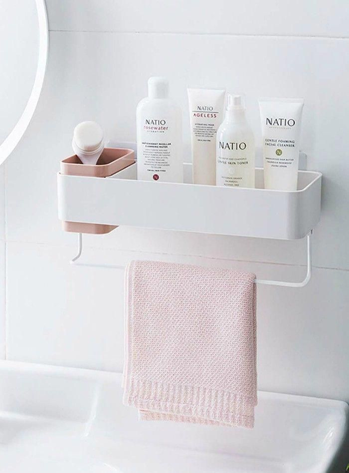 JMsDream Kitchen Shelves Wall Mounted Towel Rack Bathroom Storage Toiletries Kit…   – bathroom shelves