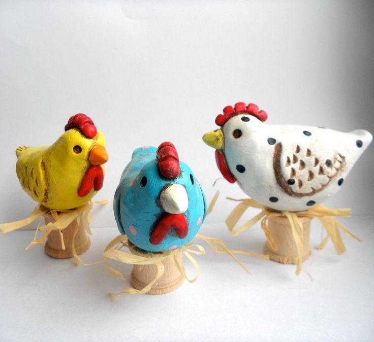 Yellow Folk Art Chicken clay sculpture READY TO SHIP. $13.00, via Etsy.