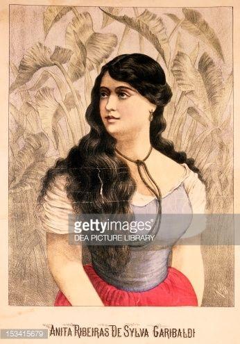 Fine art : Ana Maria de Jesus Ribeiro da Silva, better known as Anita Garibaldi (1821-1849), Giuseppe Garibaldi's wife, Italian Unification (Risorgimento), Italy, 19th century