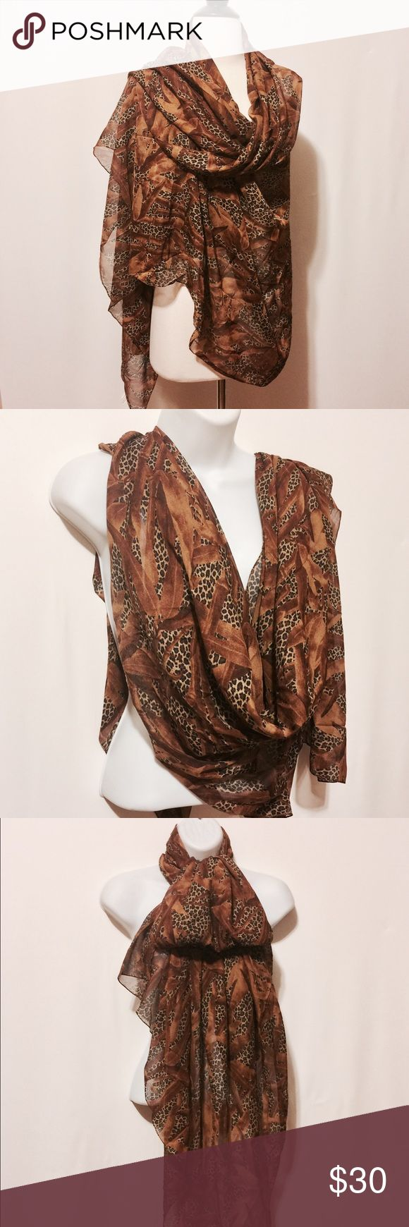 ✨ Extra Large Animal Print Chiffon Wrap Fantastic versatile wrap. This generous size wrap is the perfect vacation accessory. Wear it as a wrap to dress up a little black dress, as a sarong to walk the beach. The possibles are end less.  Made in Italy   100% Poly   Hand Wash Accessories Scarves & Wraps