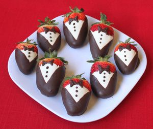 Tuxedo Strawberries are beautiful strawberries decorated with white and dark chocolate to resemble tiny tuxedos. They are the perfect candy for Valentine's Day, weddings, showers, or any formal or romantic occasion.: Your Tuxedo Strawberries Are Finished