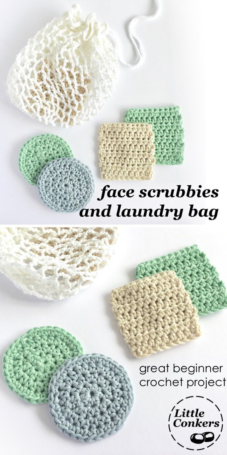 Easy beginner crochet patter for face scrubbiest / makeup remover pads. Square a…