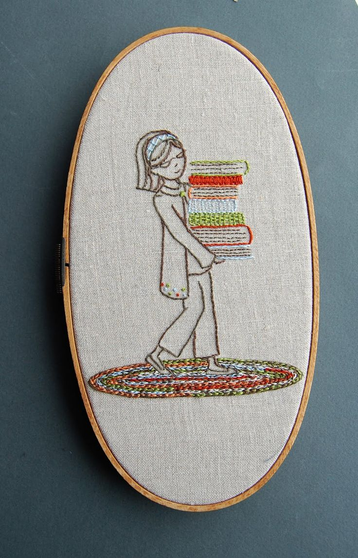 1213 best books libraries images on pinterest beautiful blame girl with stack of books embroidered from the so september blog cute embroidery patternsmodern bankloansurffo Image collections