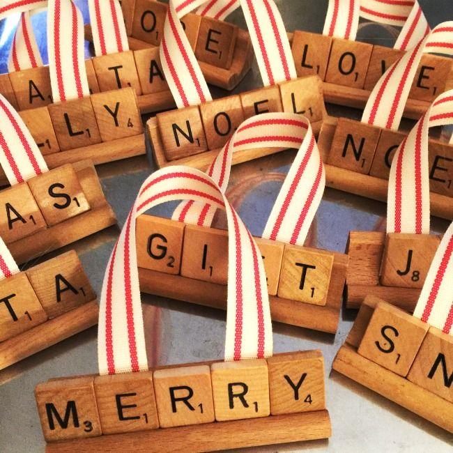 Repurposed Vintage Scrabble Ornaments for Christmas www.homeroad.net