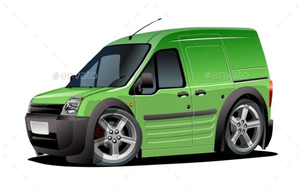 Vector Cartoon Delivery Van Isolated On White Vans Train