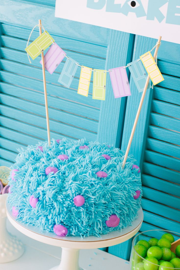 Project Nursery - I love this simple Monsters, Inc. Birthday Cake