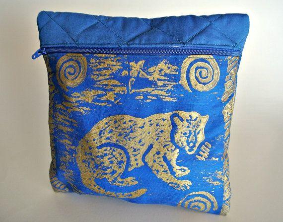Painted Leopard Make Up Bag  Purse Organizer  Blue Gold by ClassA