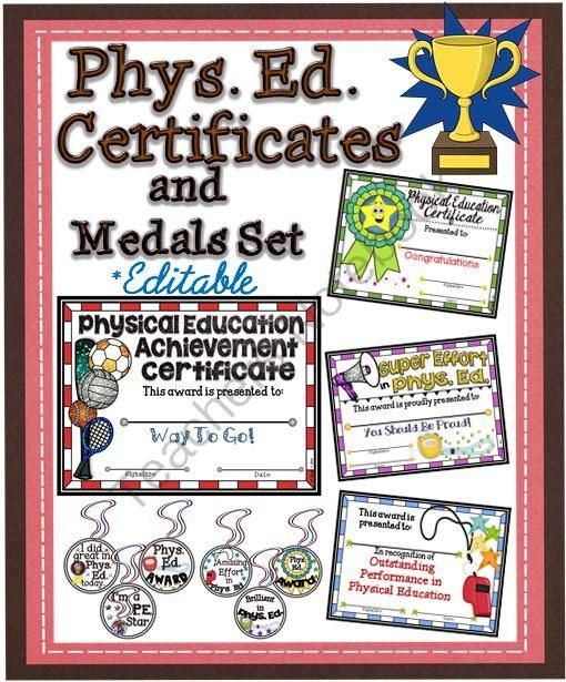 Phys. Ed. Certificates and Medals Set from A Teacher in Paradise on TeachersNotebook.com -  (11 pages)  - Here is a set of certificates to award and encourage your students who take part in Physical Education classes.