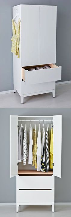 IKEA Fan Favorite: NORDLI wardrobe. A small closet and chest of drawers in one clean and modern piece.
