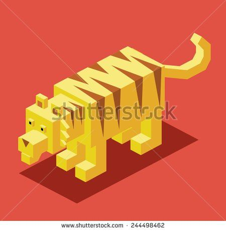 yellow tiger. 3d pixelate isometric vector - stock vector