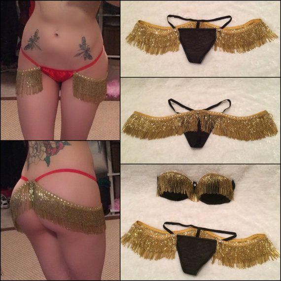 Black and Gold Beaded Crystal Fringe Burlesque Thong Panty. Burlesque Cabaret…