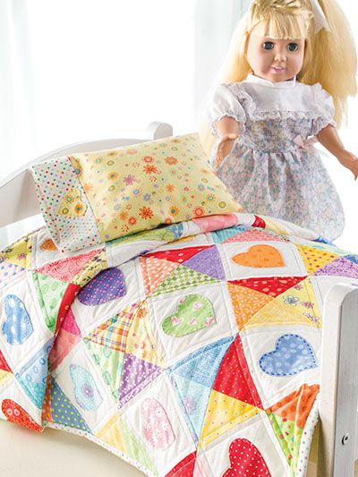 Quilting - Scrap Projects - Children & Baby - Sleep Tight Doll Quilt & Pillowcase