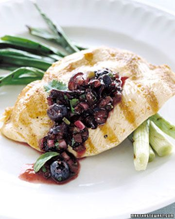 Grilled Chicken with Blueberry-Basil Salsa -- Liberate blueberries from the dessert menu by pairing them with chicken. The berries are blended with basil, cilantro, red onion, and grilled jalapenos to make a brilliant purple salsa that's spooned over grilled chicken breasts for a light and healthy summer dinner.