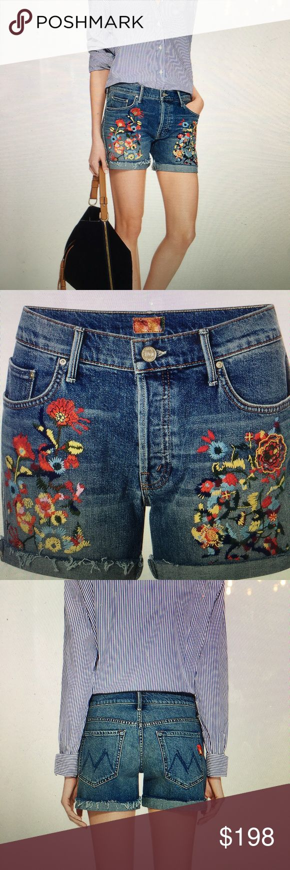 Mother Denim  loosely embroidered jean shorts Known for a super soft fabrics and at revenant attitude the boutique LA-based label pushes technology boundaries while maintaining a cheeky, indie spirit.  rendering in a classic denim wash these mother denim Jean shorts add visual apparel to any casual look with the eye-catching floral  embroidery.   Excellent condition.  SOLD OUT. MOTHER Shorts Jean Shorts