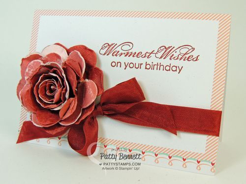 How To make vintage paper roses using the Spiral Flower Big Shot die - 2014 Occasions catalog from Stampin Up, by Patty Bennett, www.PattyStamps.com