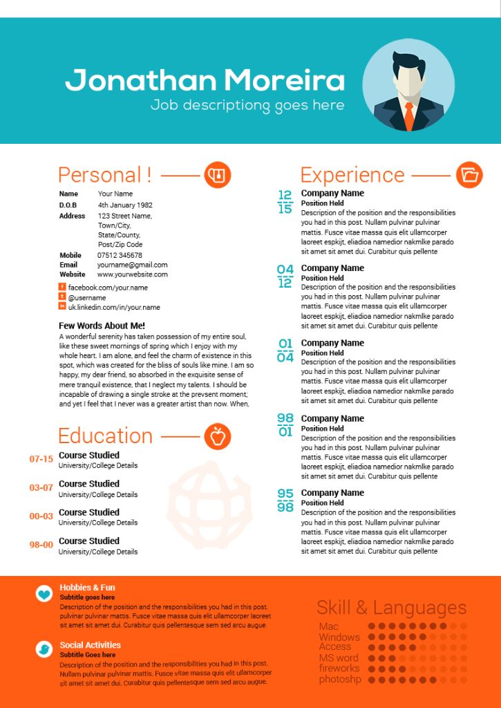 65 best Creative resume templates images on Pinterest Creative - curriculum vitae templates