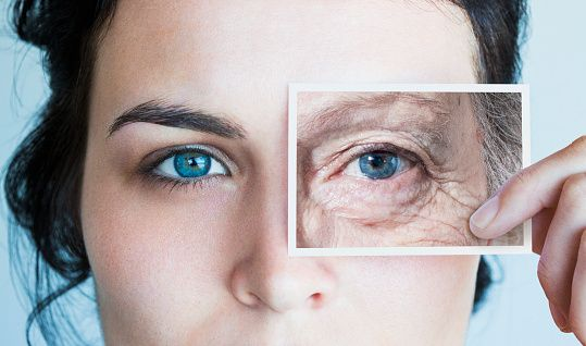 Stock Photo : Young woman with photo of aged eye over her own