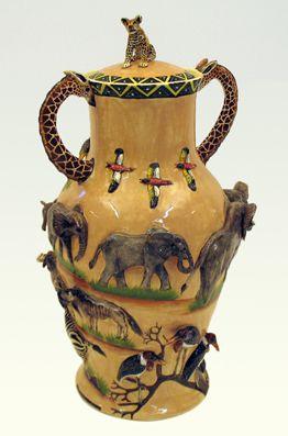 Giraffe handles and Lepoard lid vase - Ken Rowse
