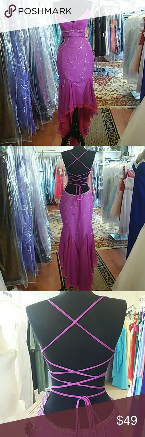 NWT All About Me Prom hi low All About Me Prom 1224 Color: Grape and Raspberry Fabric: Beaded and sequined chiffon  Size 6 Condition: Sample dress from bridal shop. May have been tried on but not worn. No visible pulls, snags, tears. Some missing beads. All About Me Dresses High Low