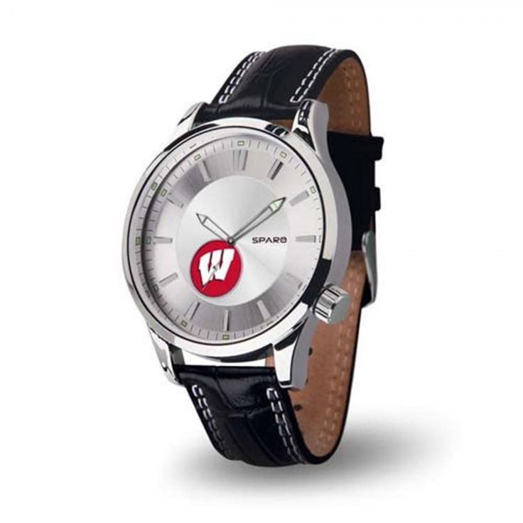 Wisconsin Badgers NCAA Icon Series Mens Watch  The new Icon Series watch from #Sparo features a genuine leather double contrast stitched padded strap with sports buckle. Each of these elegant #watches also features a scratch resistant mineral crystal lens, quartz movement with sub second dial, applied indexes on a steel dial with points of fluorescents and sliver #fluorescents hands and a high quality stainless steel case.