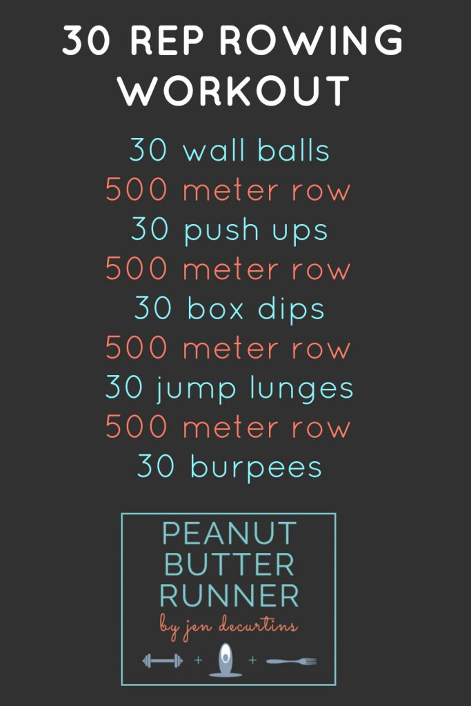 30 Rep workout with 500m row intervals between each exercise