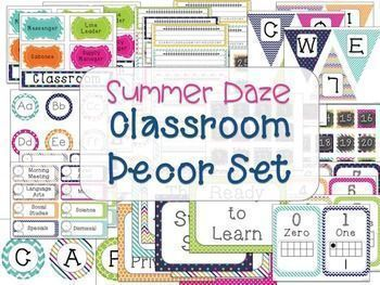 This bright, colorful classroom decor set has everything that you need to get your classroom up and running and ready for back to school!  The set includes:-Name tags-Word wall labels-Classroom jobs-Schedule cards-Calendar numbers-Monthly headings-Days of