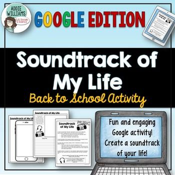 """Back to School is such a busy time of the year so why not get your students started by writing about the music that best represents them and their unique lives!  Using Google Slides or MS OneDrive, this activity can either be used as """"Soundtrack of My Life"""" or """"Soundtrack of My Summer"""" - the full online activity includes options for both."""