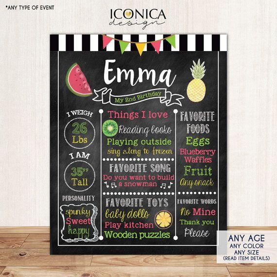 Tutti Frutti Chalkboard Sign First Birthday by IconicaDesign