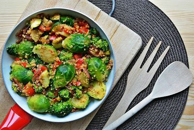 Pan roasted vegetables - brussels sprouts, broccoli, red pepper, red onion, zucchini and bulgur