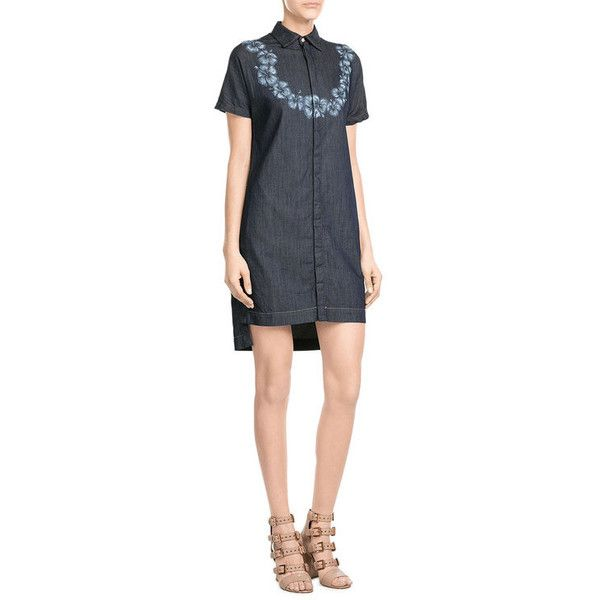 Dsquared2 Denim Dress (18,260 INR) ❤ liked on Polyvore featuring dresses, dark blue cocktail dress, cocktail dresses, slimming dresses, evening dresses and blue cocktail dresses