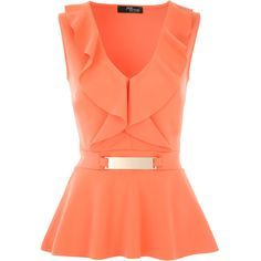 Coral V-Front Frill Peplum Top ($42) ❤ liked on Polyvore featuring tops, v-neck tops, frilly tops, red peplum top, red top and peplum tops