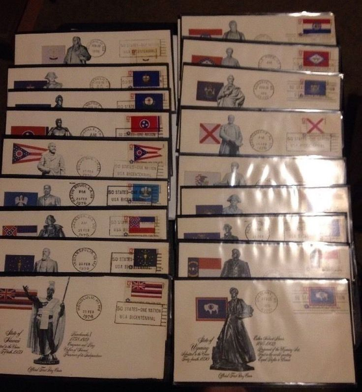 1976- Fleetwood  50 First Day Covers US FDC   50 State Flags Stamps on FDC's