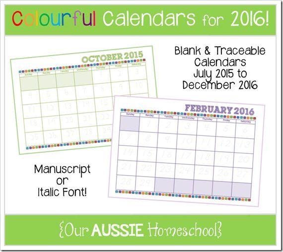Colourful Calendars for 2016 | Our Aussie Homeschool