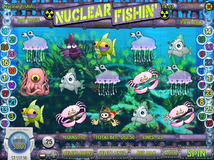 Viel Spaß kostenlos online Automat Nuclear Fishin' - http://spielautomaten7.com/nuclear-fishin/