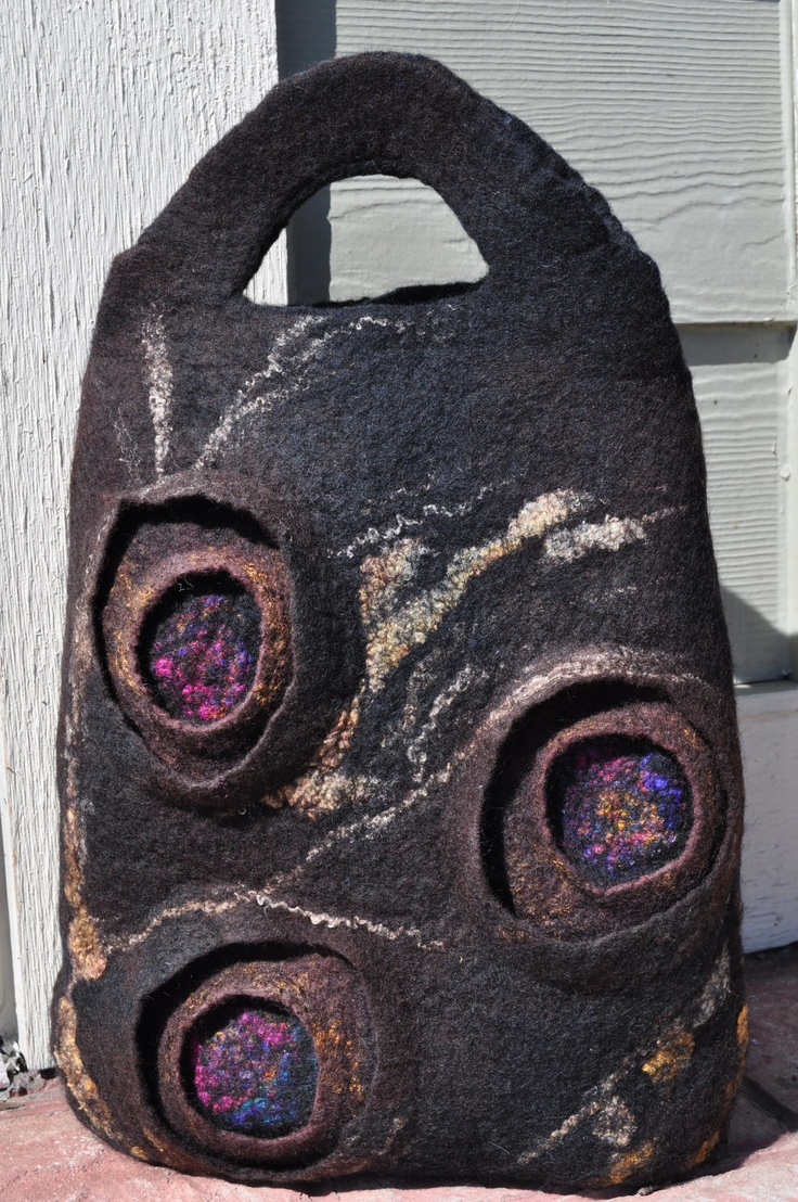 brown felted purse handbag. $188.98, via Etsy.